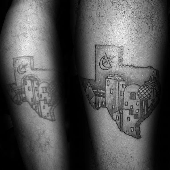 Guys Dallas Texas Skyline Tattoo Design Ideas