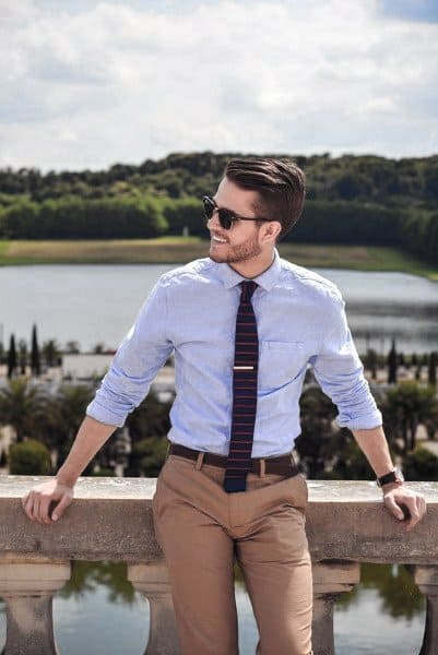 Guys Dapper Style Casual Wear Ideas Blue Dress Shirt