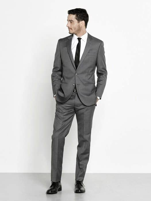 Guys Dapper Style Charcoal Grey Suit Black Shoes Ideas