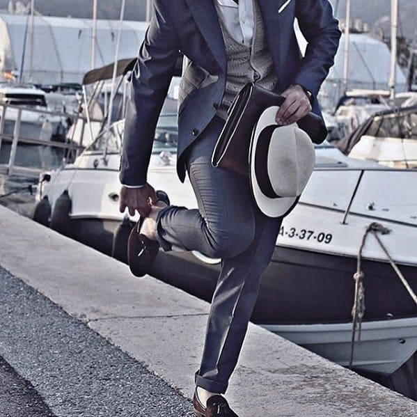 Guys Dapper Style Navy Blue Suit Brown Shoes Ideas With Grey Vest