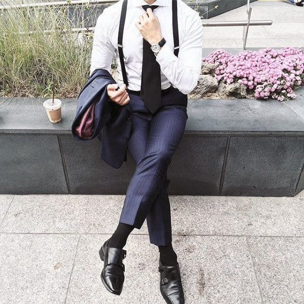 Guys Dapper Style Navy Blue Suit With Black Shoes And Suspenders Ideas