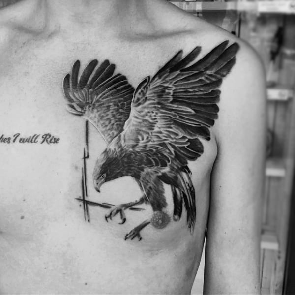 Guys Dark Hawk Tattoo Shaded On Chest
