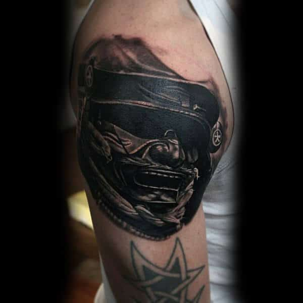 Guys Dark Shaded Black Work Samurai Mask Upper Arm Tattoo