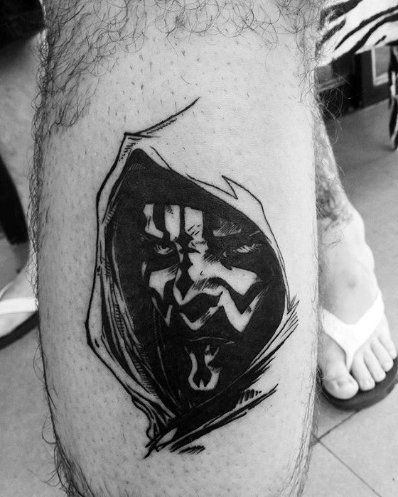 Guys Darth Maul Tattoo Sketched Black Ink Design On Leg Calf