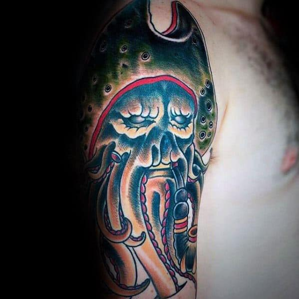 Guys Davy Jones Half Sleeve Traditional Old School Tattoo Design Ideas