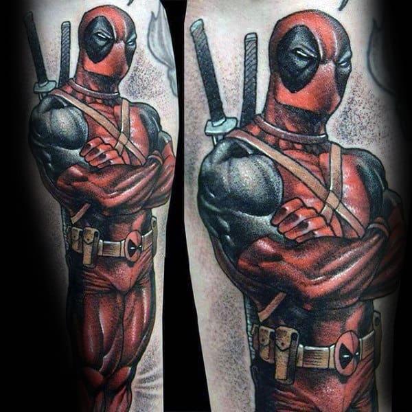 Guys Deadbool Inner Forearm Tattoo