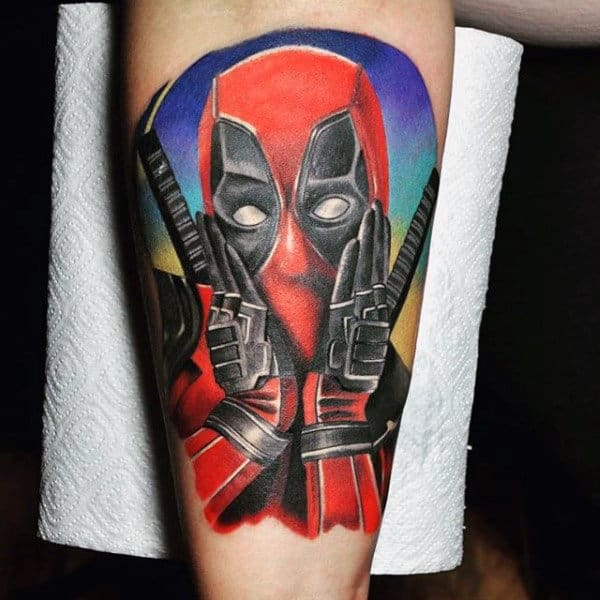 Guys Deadpool Arm Tattoo With Colorful Watercolor Background