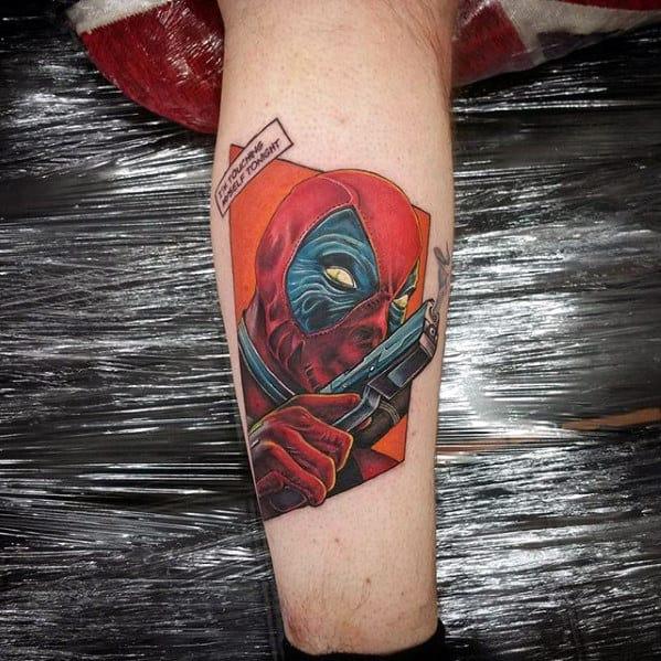 Guys Deadpool Marvel Comic Leg Tattoo