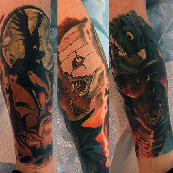 Guys Death Note Tattoo Design Ideas Leg Sleeve