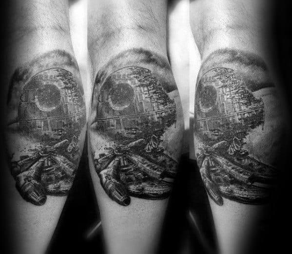 Guys Death Star Leg Calf Tattoos