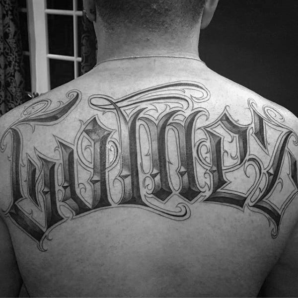 Guys Decorative Old English Gomez Last Name Upper Back Tattoos