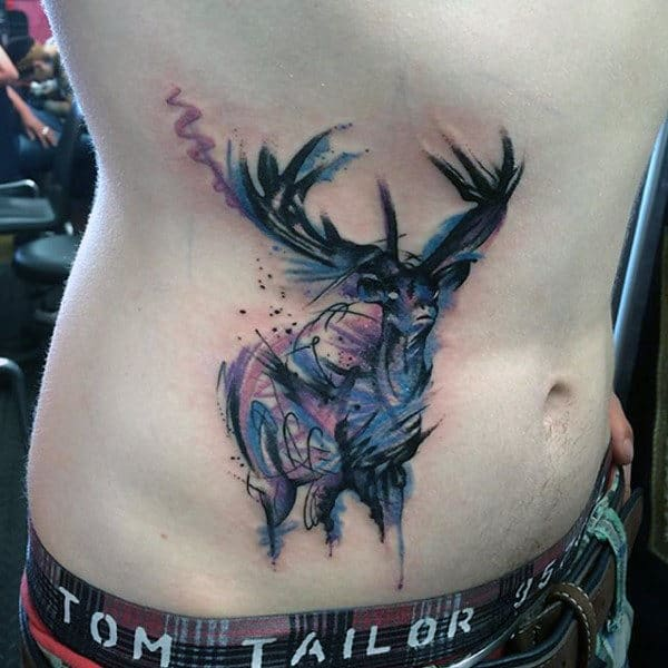 Guys Deer Antler Tattoo Designs On Stomach