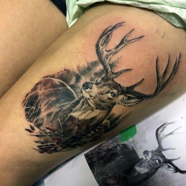 Guys Deer Head Tattoo Designs On Upper Thigh