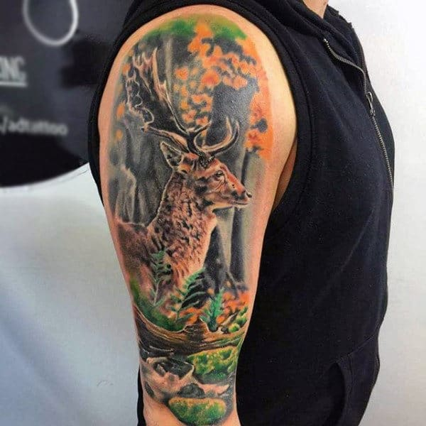 Guys Deer In Woods Animal Sleeve Tattoos