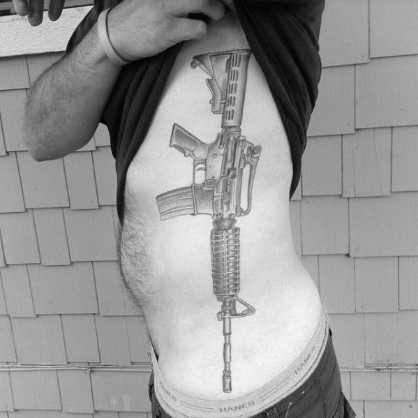 Guys Design Ideas Ar 15 Tattoos Rib Cage