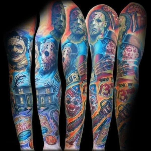 Guys Designs Horror Movie Tattoos Full Arm Sleeve