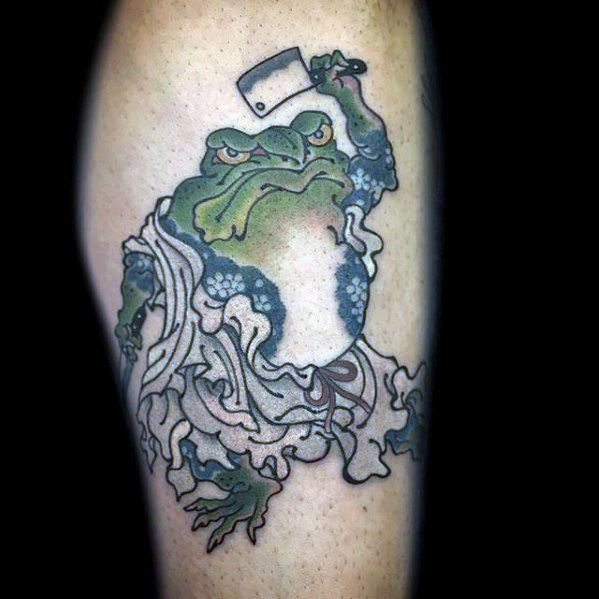 Guys Designs Japanese Frog Tattoos