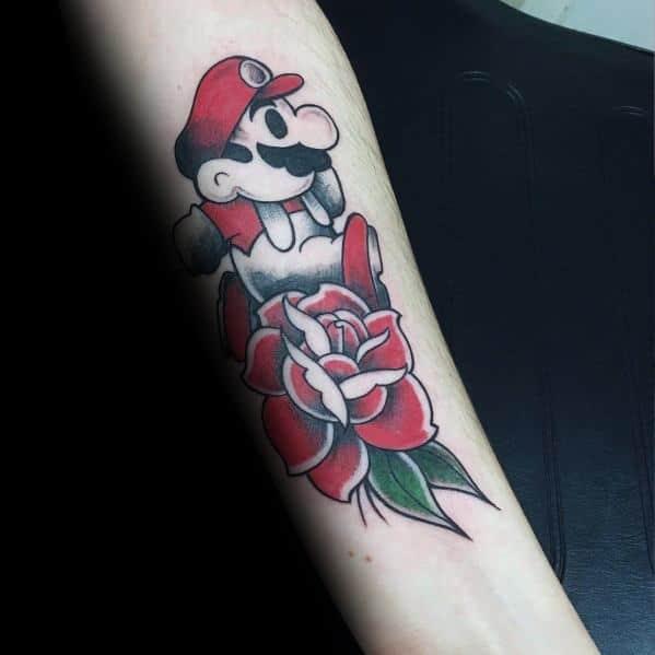 Guys Designs Mario Gaming Tattoos