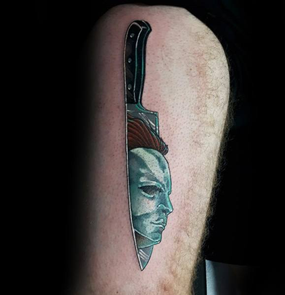 Guys Designs Michael Myers Knife Themed Thigh Tattoos