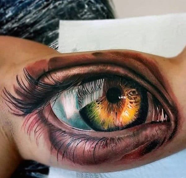 Guys Detailed Eye Tattoo Inner Biceps