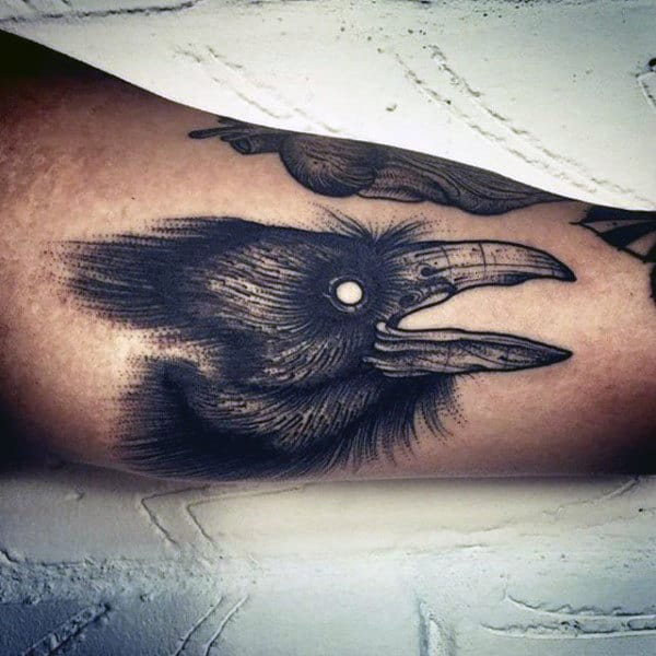 Guys Detailed Inner Arm Small Crow Tattoo Designs