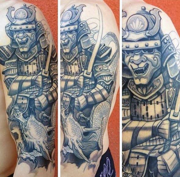 Guys Detailed Samurai Holding Sword With Dragon Tattoo Half Sleeve