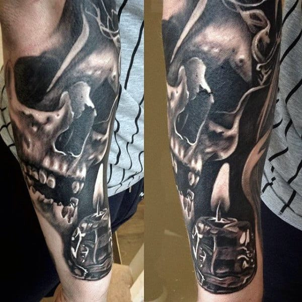 Guys Detailed Skull With 3d Burning Candle Forearm Sleeve Tattoo