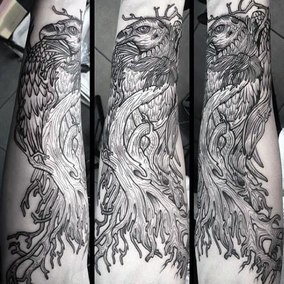 Guys Detailed Vulture Inner Forearm Tattoo Designs
