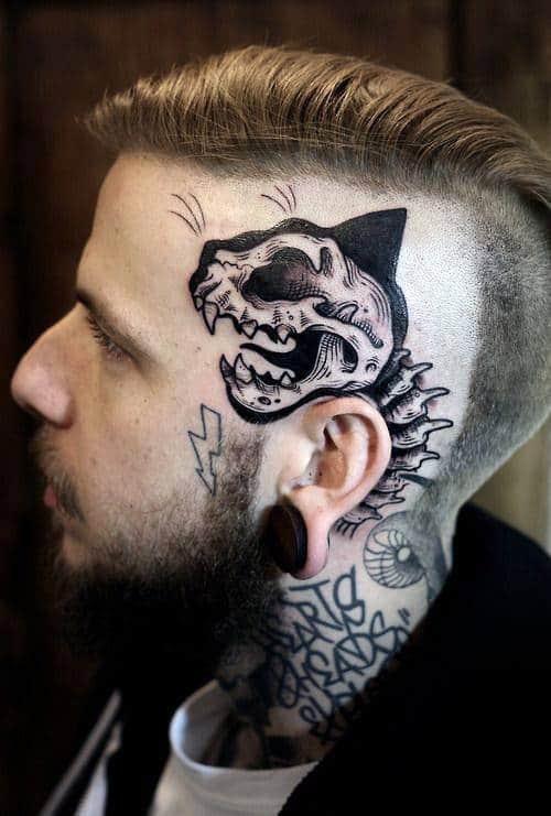 Guys Dinosaur Skeleton Face Tattoo Ideas