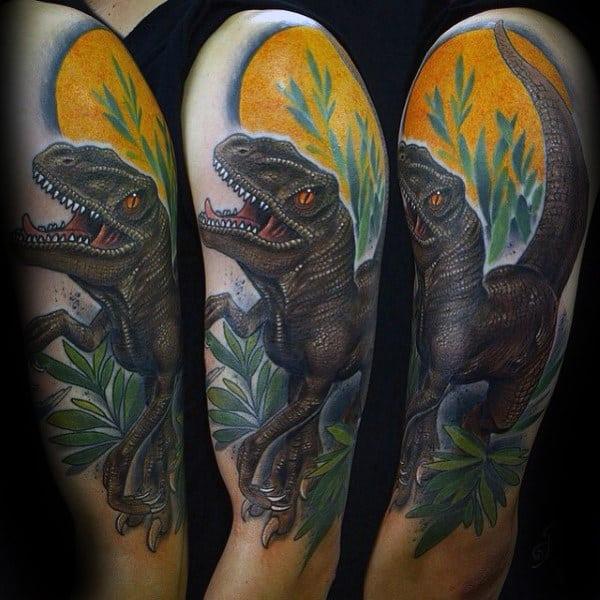Guys Dinosaur Velociraptor Half Sleeve Tattoos