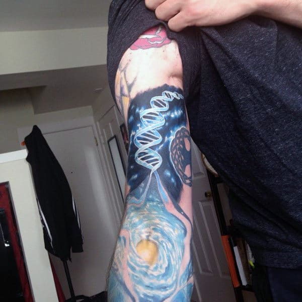 Guys Dna Molecule Sleeve Outer Space Universe Tattoos