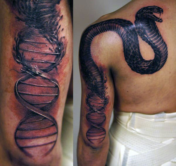 Guys Dna Morphing Into Snake Tattoo On Arm And Back