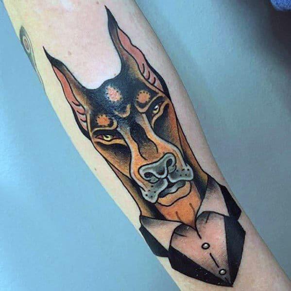 Guys Doberman Dog Tattoo Designs