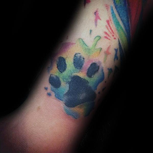 Guys Dog Paw Watercolor Colorful Forearm Tattoos
