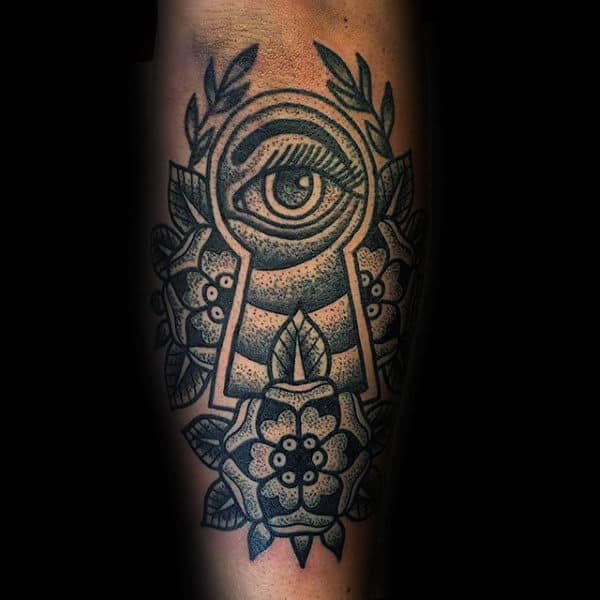 Guys Dotwork Keyhole Mens Old School Tattoo Design