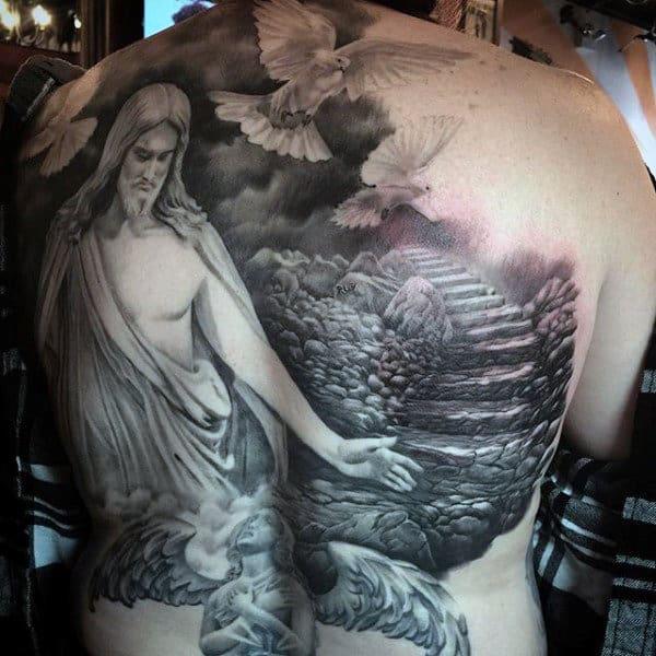 Guys Doves Tattoo Designs On Back