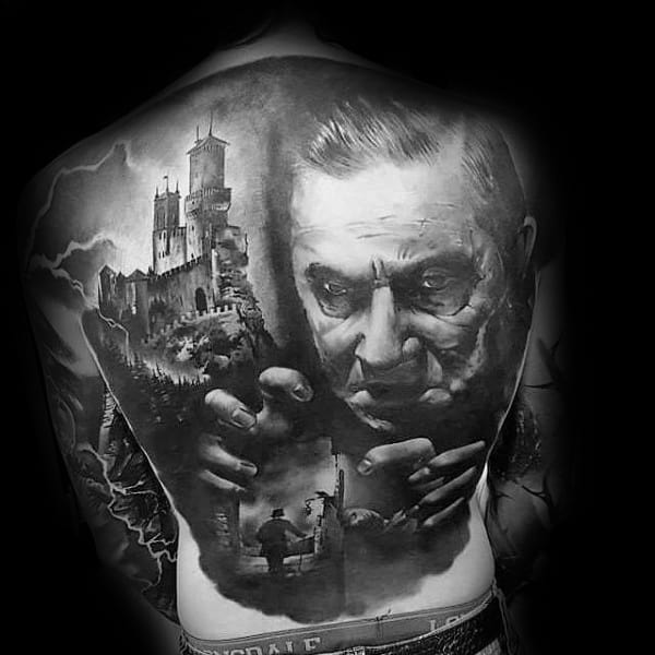 Guys Dracula Themed Full Back Coolest Tattoos
