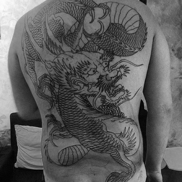Guys Dragon Black Ink Outline Tattoo Designs On Back