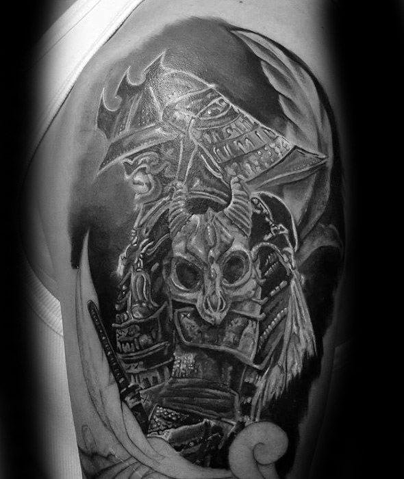 Guys Dragon Skull Tattoo