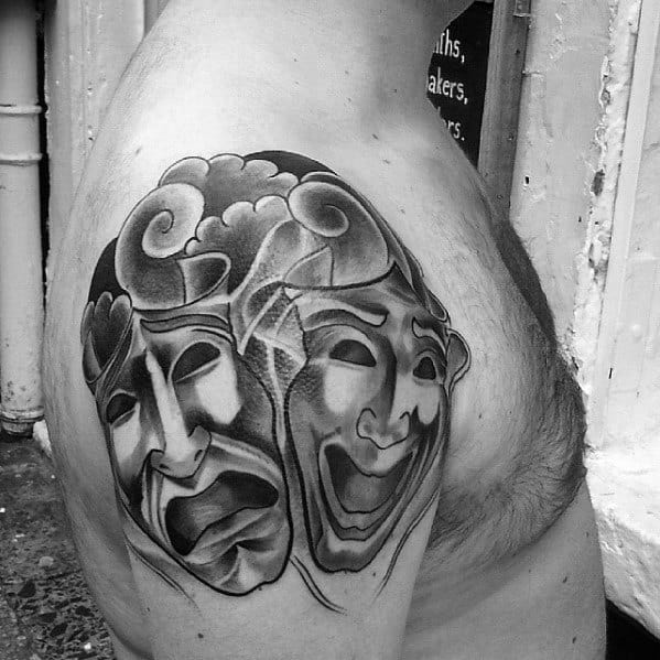 Guys Drama Mask Tattoo Design Ideas Upper Arm With Japanese Clouds