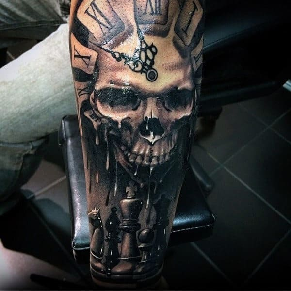 Guys Dripping Skull Clock King Chess Piece Full Sleeve Tattoo