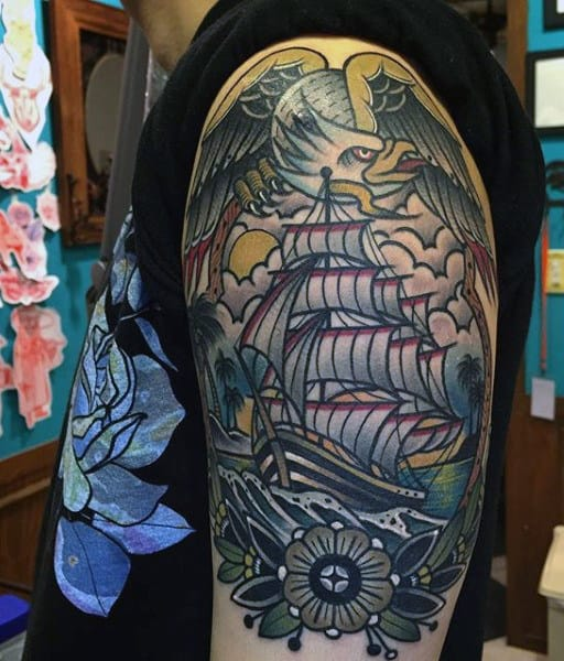 Guy's Eagle Flag Tattoo With Ship