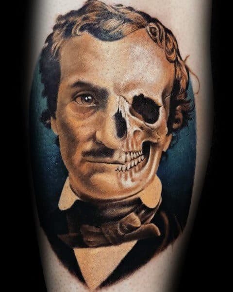 Guys Edgar Allan Poe Tattoo Design Ideas