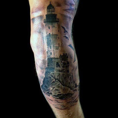 Guys Elbow Lighthouse Tattoo Inspiration
