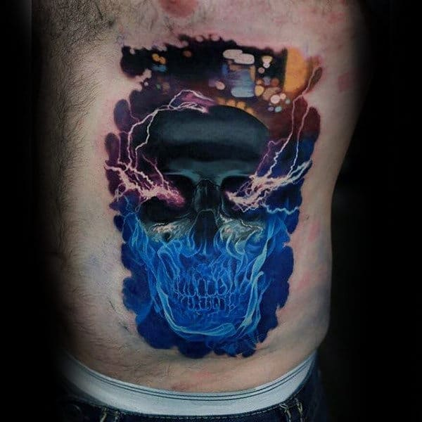 Guys Electrical Skull Colorful 3d Rib Cage Side Tattoos