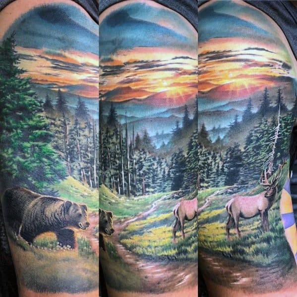 Guys Elk Tattoo Design Ideas