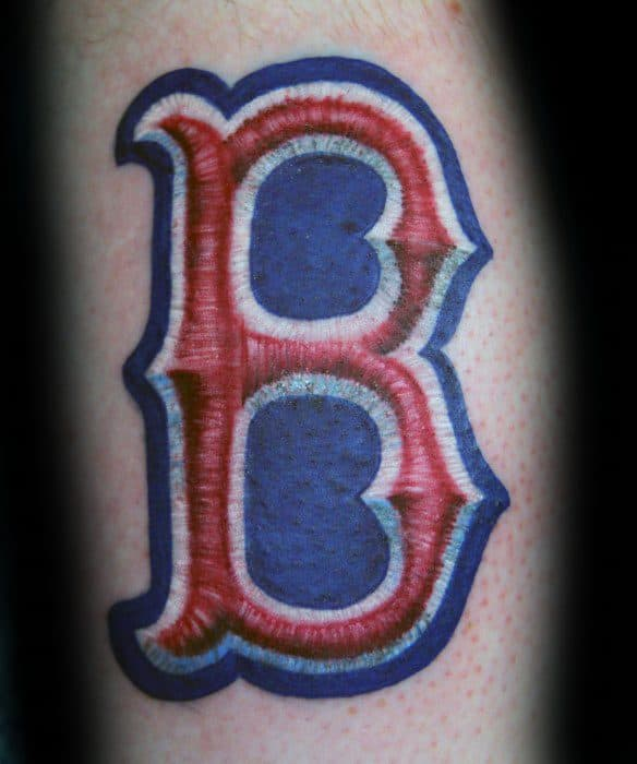 Guys Embroidered Logo Boston Red Sox Tattoo On Forearm
