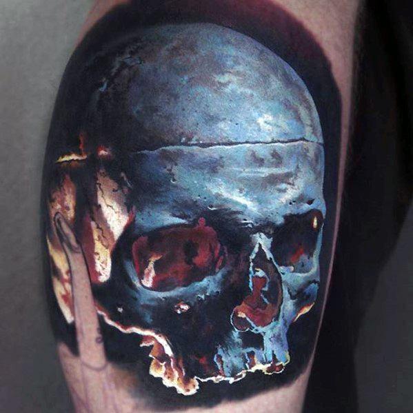 Guys Epic 3d Realistic Skull Tattoo Designs