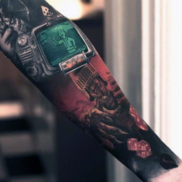 Guys Fallout Forearm Sleeve 3d Realistic Tattoos