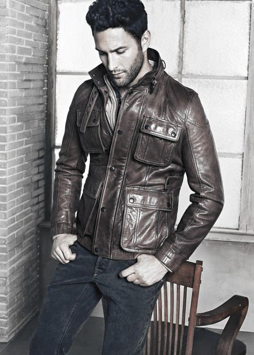 Guys Fashion How To Wear A Leather Jacket Brown Leather Jacket Outfits Style